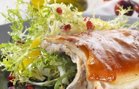 烤乳猪配菊苣石榴橙子色拉